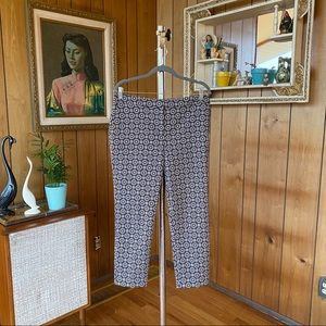 Gray and Cream Patterned Chico's Capri Pants
